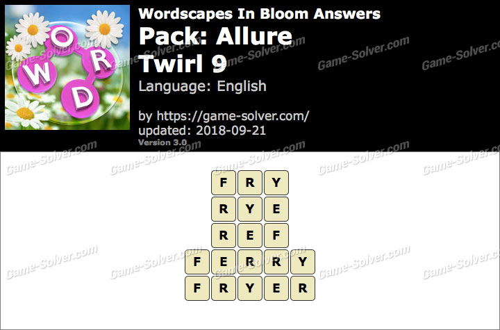 Wordscapes In Bloom Allure-Twirl 9 Answers