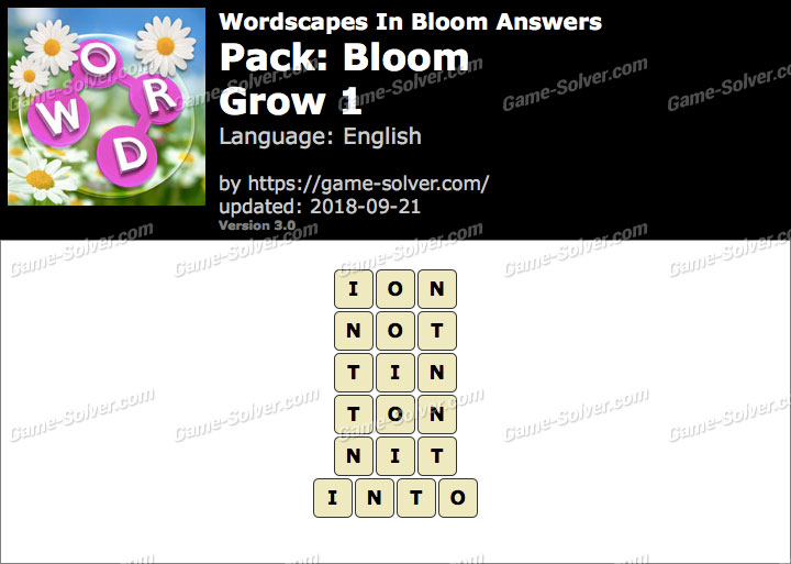 Wordscapes In Bloom Bloom-Grow 1 Answers