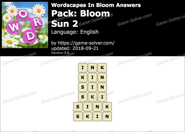 Wordscapes In Bloom Bloom-Sun 2 Answers