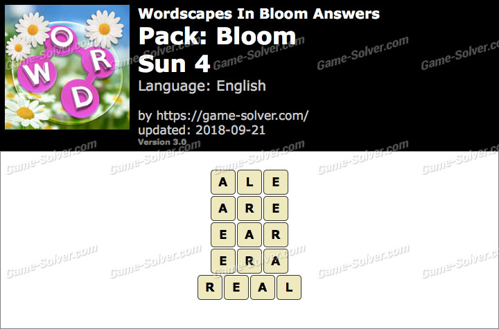 Wordscapes In Bloom Bloom-Sun 4 Answers