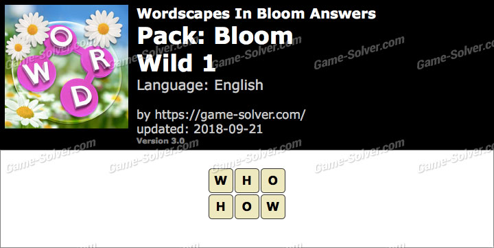 Wordscapes In Bloom Bloom-Wild 1 Answers