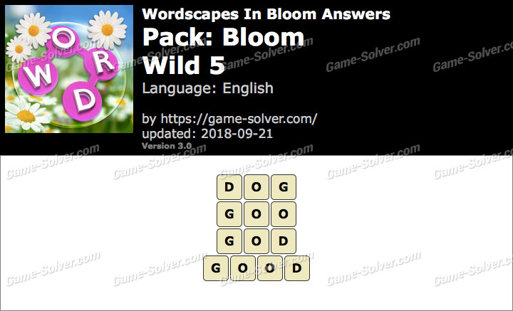 Wordscapes In Bloom Bloom-Wild 5 Answers