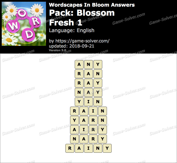 Wordscapes In Bloom Blossom-Fresh 1 Answers