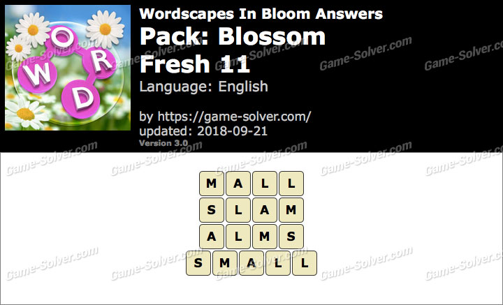 Wordscapes In Bloom Blossom-Fresh 11 Answers