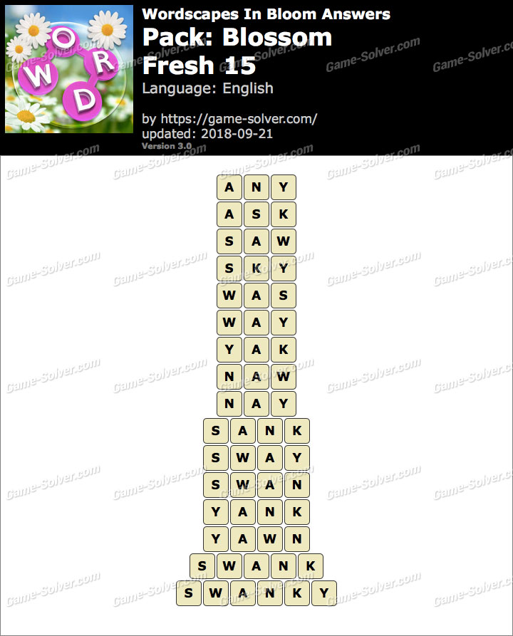 Wordscapes In Bloom Blossom Fresh 15 Answers Game Solver