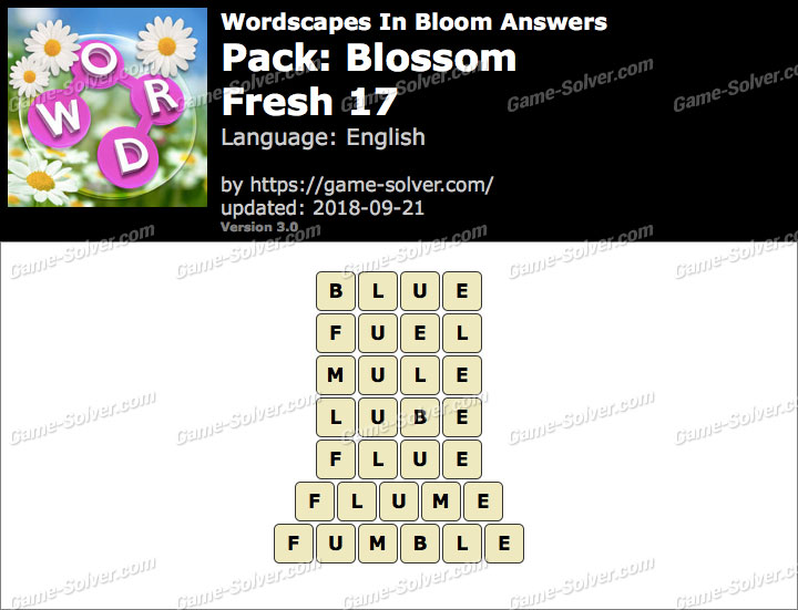 Wordscapes In Bloom Blossom-Fresh 17 Answers
