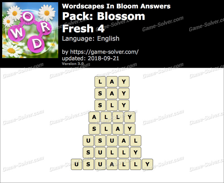 Wordscapes In Bloom Blossom-Fresh 4 Answers