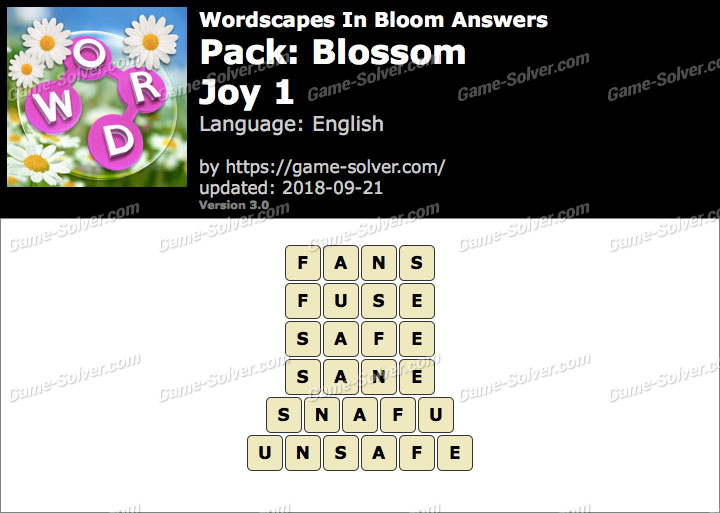 Wordscapes In Bloom Blossom-Joy 1 Answers