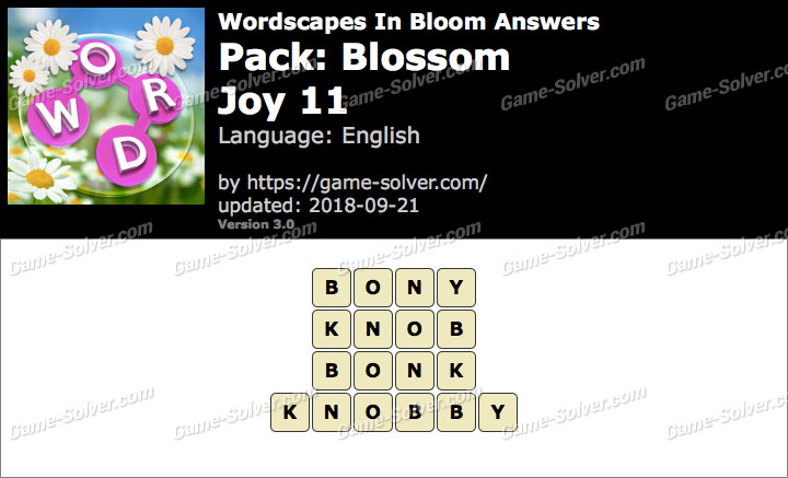 Wordscapes In Bloom Blossom-Joy 11 Answers