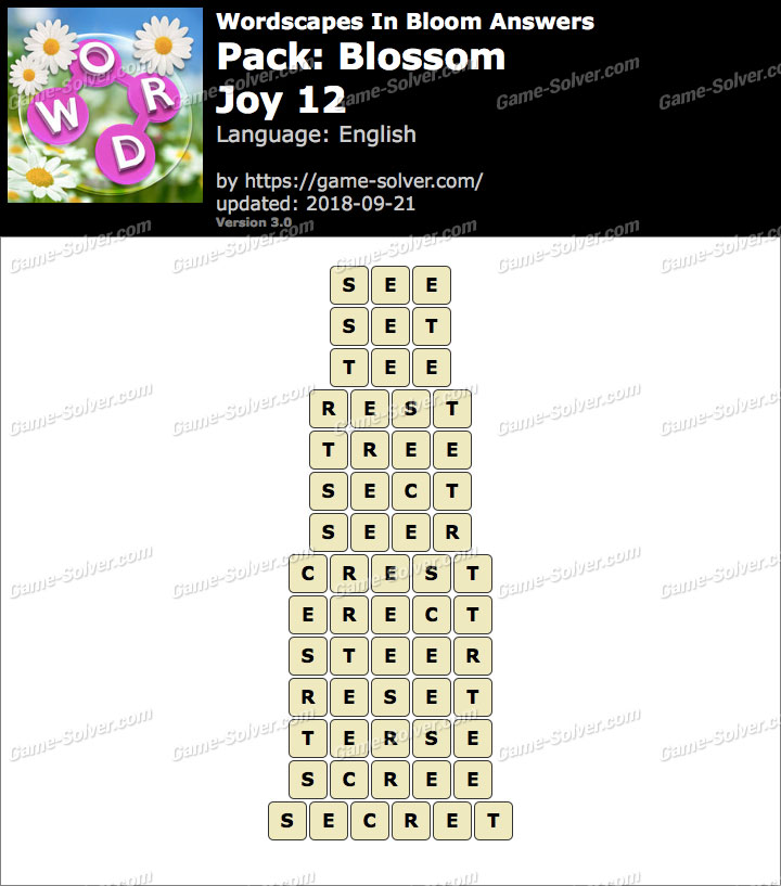 Wordscapes In Bloom Blossom-Joy 12 Answers