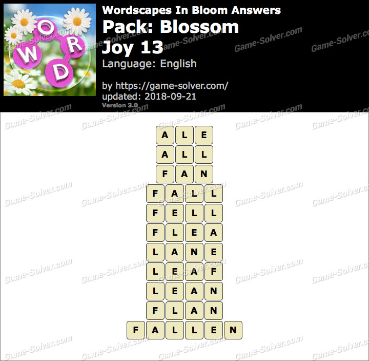 Wordscapes In Bloom Blossom-Joy 13 Answers