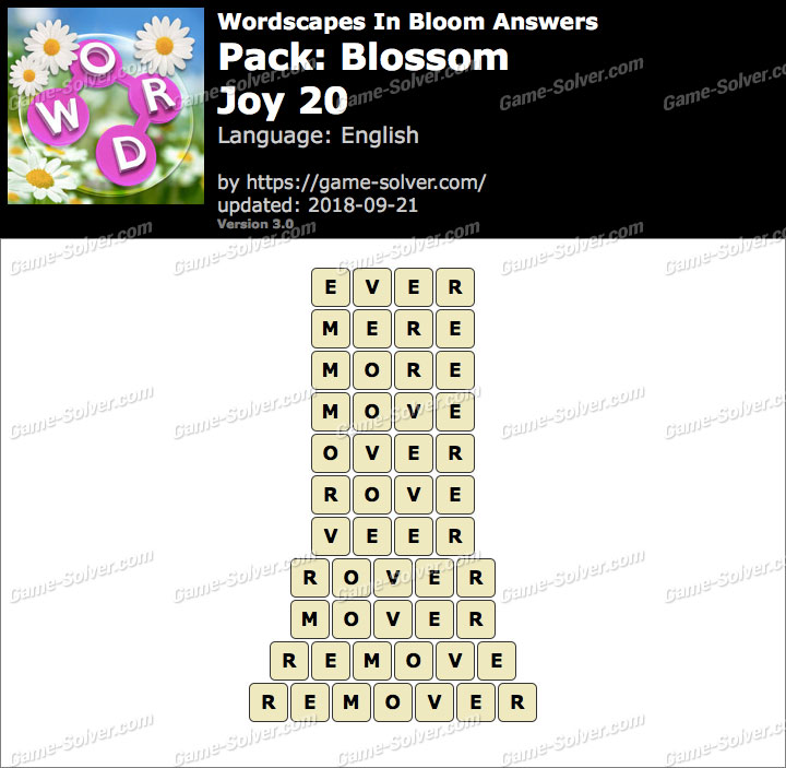 Wordscapes In Bloom Blossom-Joy 20 Answers