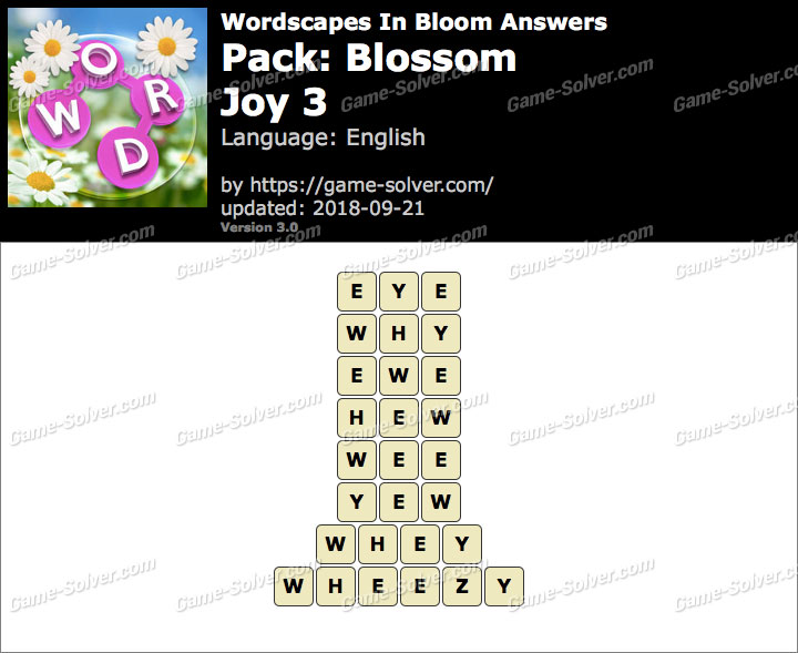 Wordscapes In Bloom Blossom-Joy 3 Answers