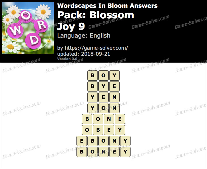 Wordscapes In Bloom Blossom-Joy 9 Answers