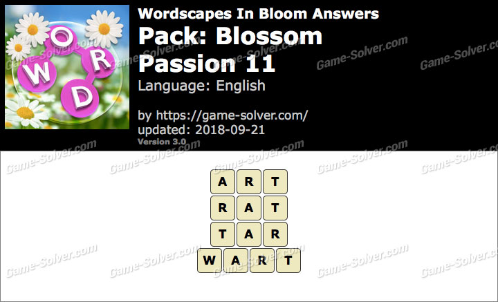 Wordscapes In Bloom Blossom-Passion 11 Answers