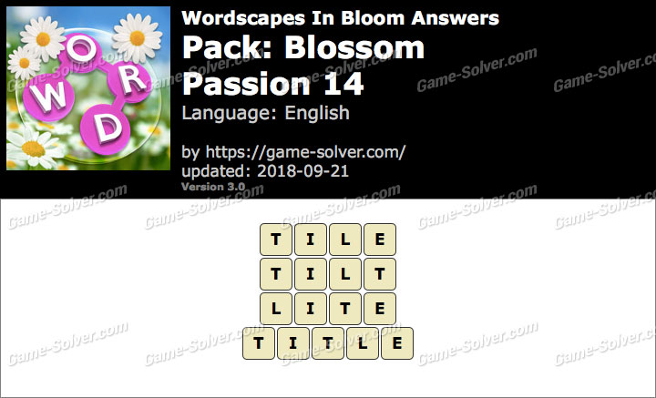 Wordscapes In Bloom Blossom-Passion 14 Answers