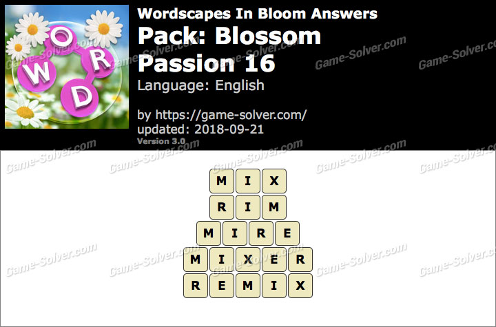 Wordscapes In Bloom Blossom-Passion 16 Answers