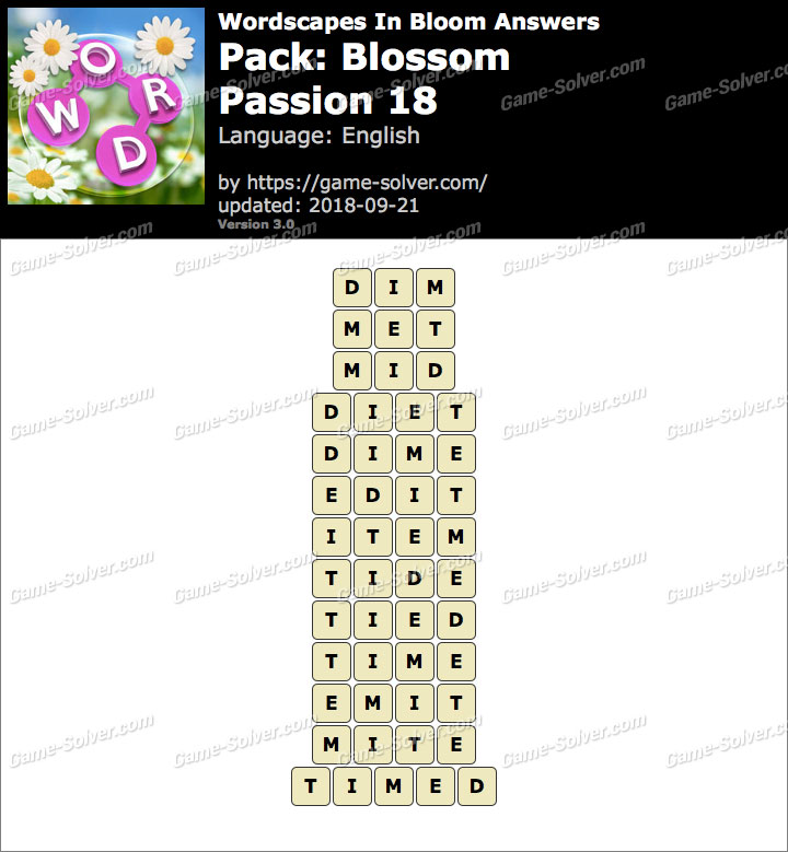 Wordscapes In Bloom Blossom-Passion 18 Answers