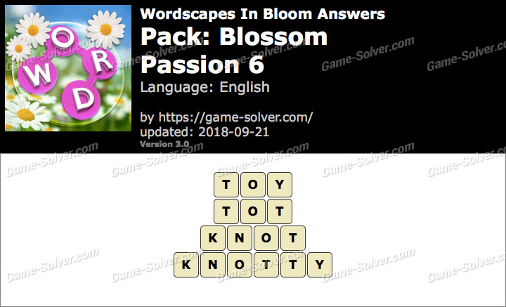 Wordscapes In Bloom Blossom-Passion 6 Answers