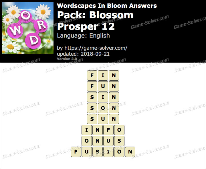 Wordscapes In Bloom Blossom-Prosper 12 Answers