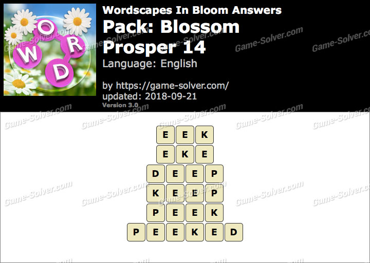 Wordscapes In Bloom Blossom-Prosper 14 Answers