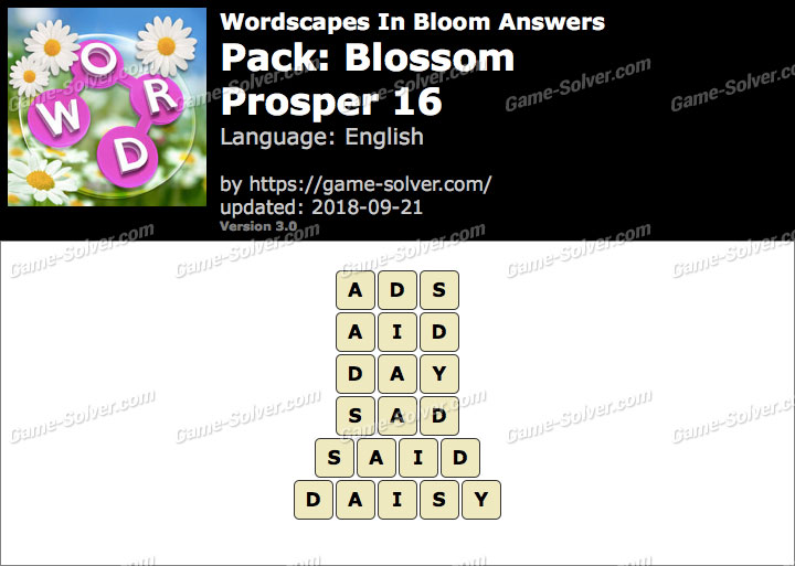 Wordscapes In Bloom Blossom-Prosper 16 Answers