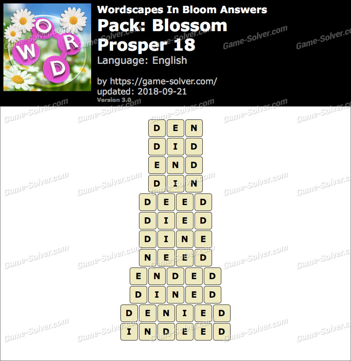 Wordscapes In Bloom Blossom-Prosper 18 Answers