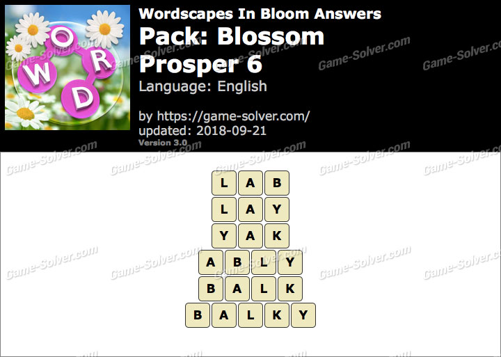 Wordscapes In Bloom Blossom-Prosper 6 Answers