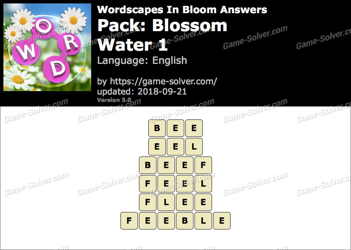 Wordscapes In Bloom Blossom-Water 1 Answers