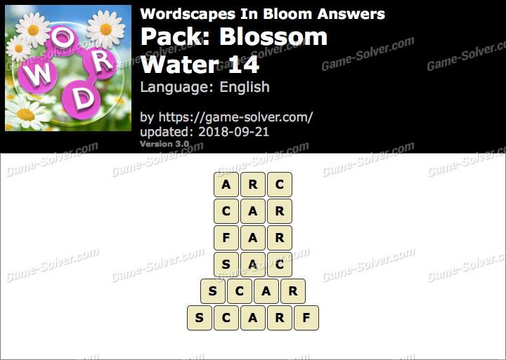 Wordscapes In Bloom Blossom-Water 14 Answers
