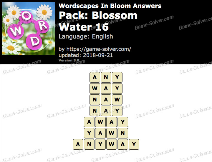 Wordscapes In Bloom Blossom-Water 16 Answers