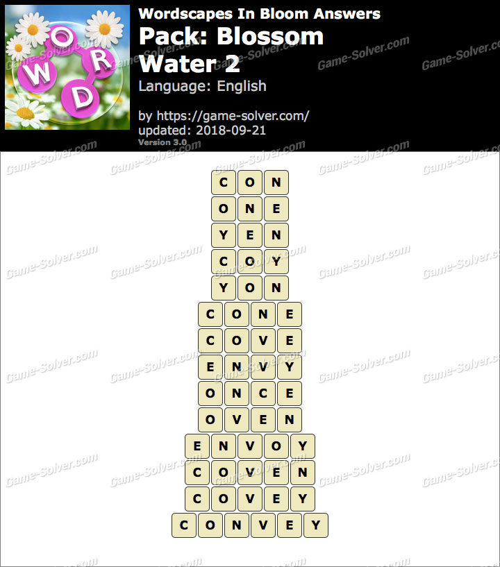 Wordscapes In Bloom Blossom-Water 2 Answers