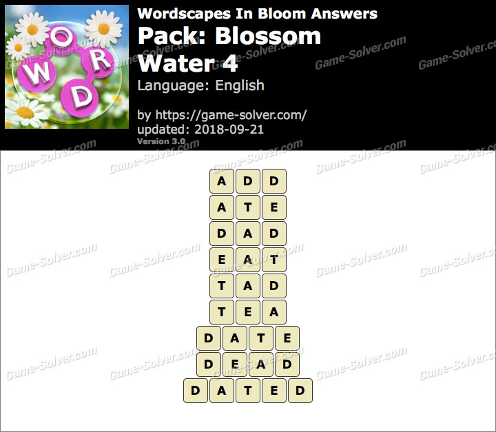 Wordscapes In Bloom Blossom-Water 4 Answers