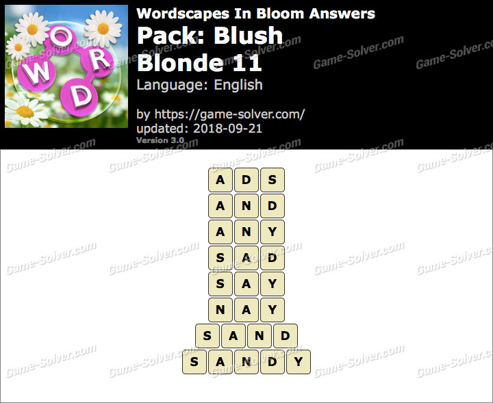 Wordscapes In Bloom Blush-Blonde 11 Answers