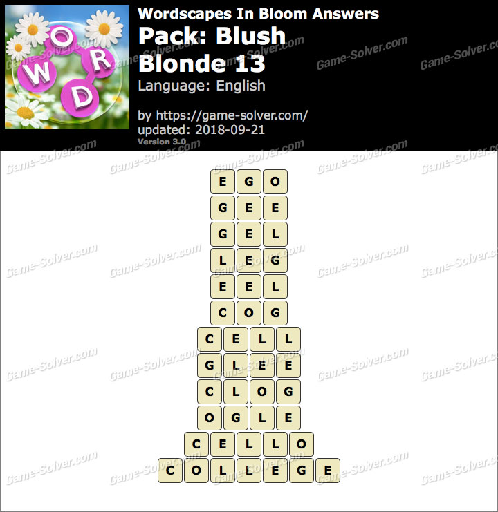 Wordscapes In Bloom Blush-Blonde 13 Answers