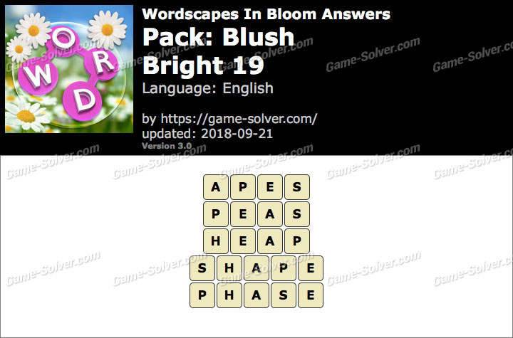 Wordscapes In Bloom Blush-Bright 19 Answers