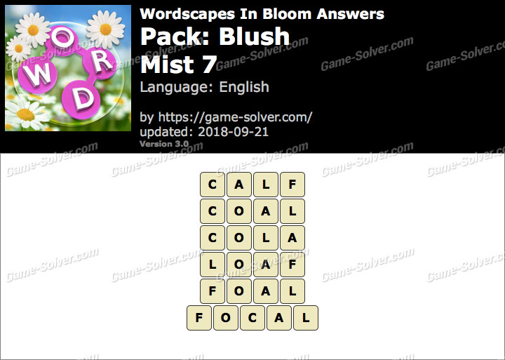 Wordscapes In Bloom Blush-Mist 7 Answers