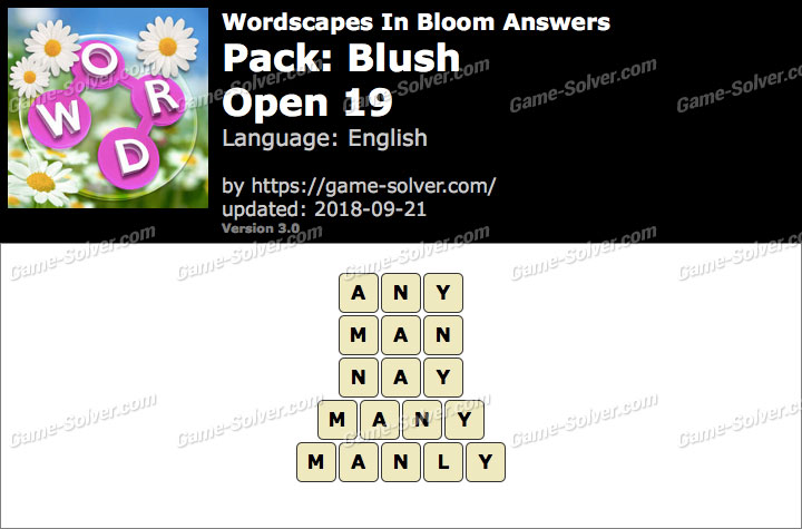 Wordscapes In Bloom Blush-Open 19 Answers