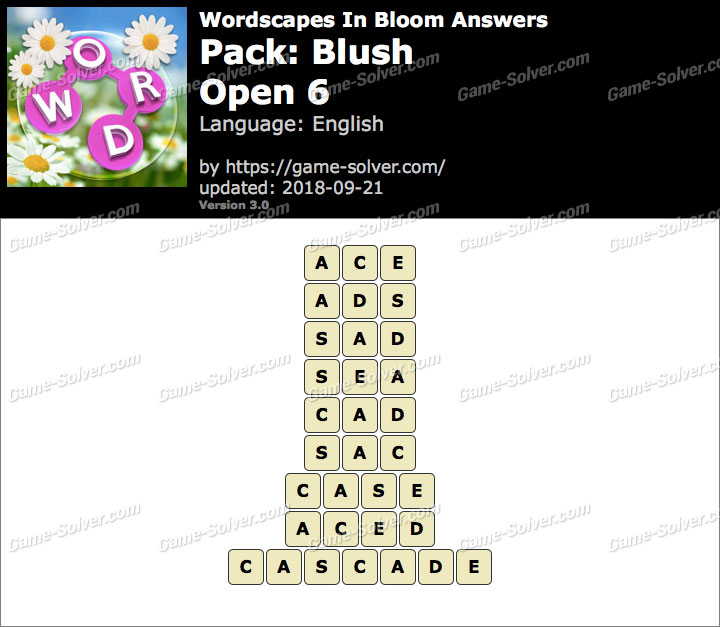 Wordscapes In Bloom Blush-Open 6 Answers
