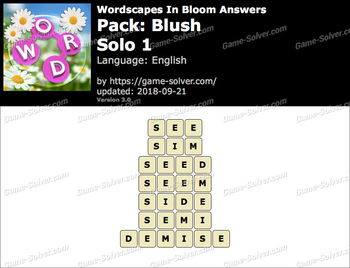 Wordscapes In Bloom Blush-Solo 1 Answers