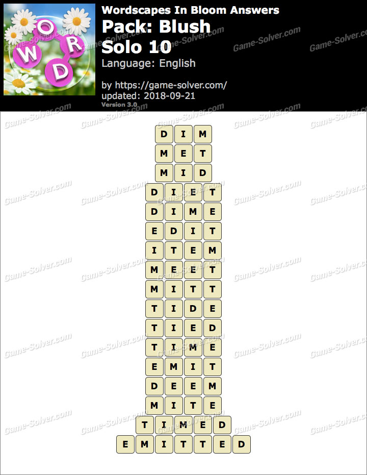 Wordscapes In Bloom Blush-Solo 10 Answers