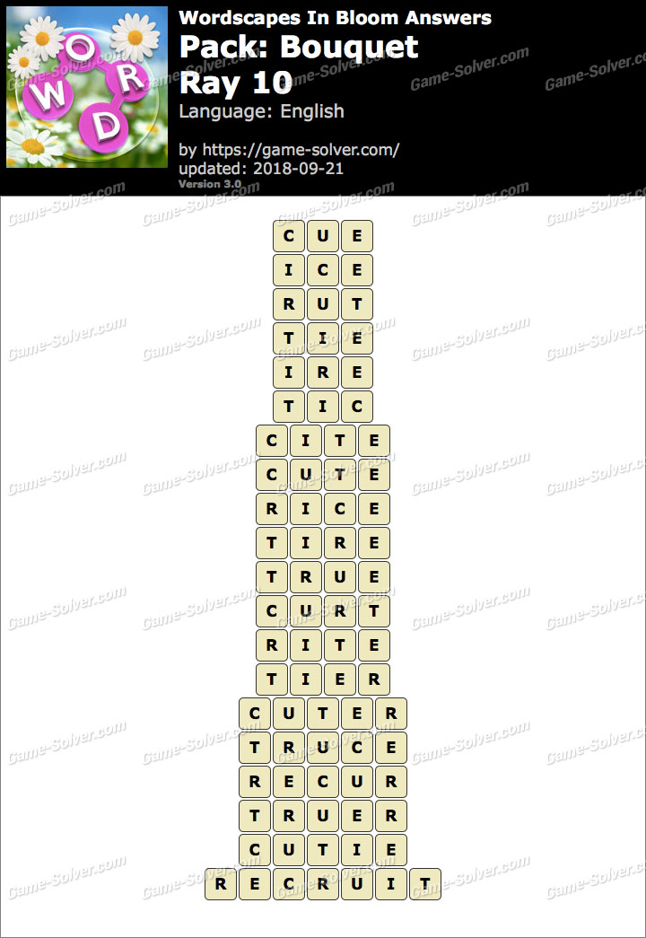 Wordscapes In Bloom Bouquet-Ray 10 Answers