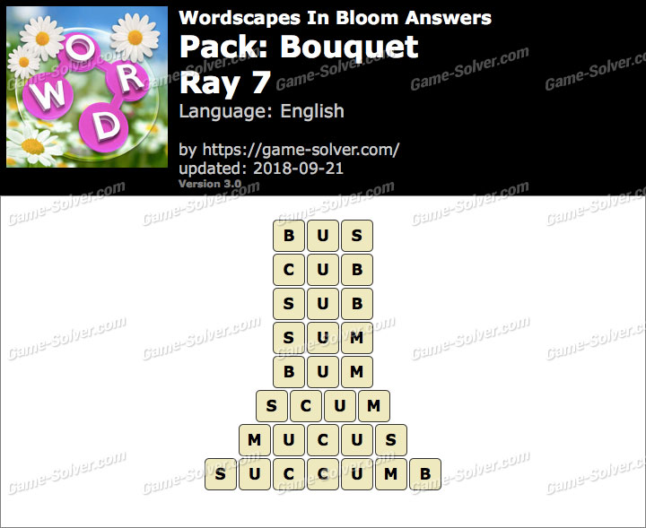 Wordscapes In Bloom Bouquet-Ray 7 Answers