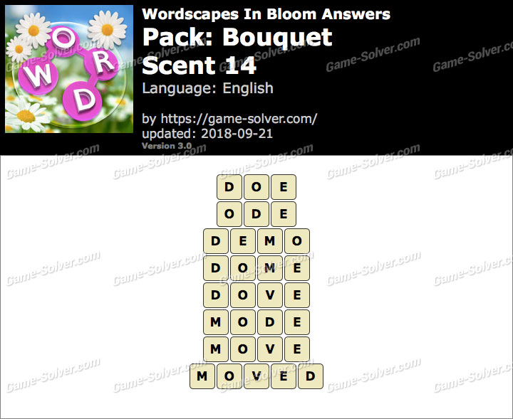 Wordscapes In Bloom Bouquet-Scent 14 Answers