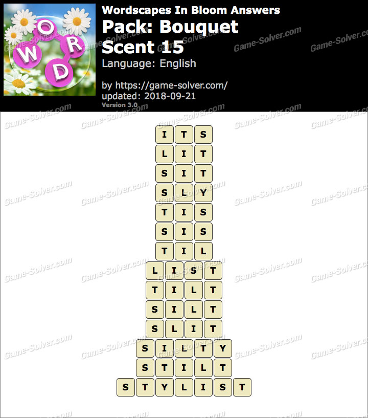 Wordscapes In Bloom Bouquet-Scent 15 Answers
