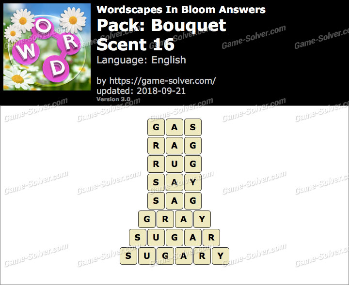 Wordscapes In Bloom Bouquet-Scent 16 Answers