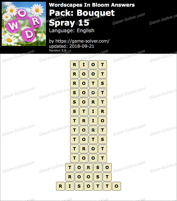 Wordscapes In Bloom Bouquet-Spray 15 Answers