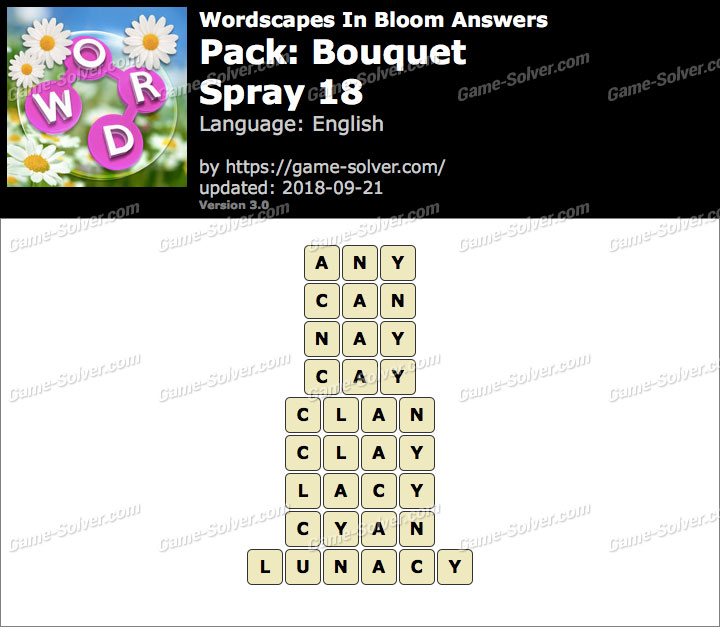 Wordscapes In Bloom Bouquet-Spray 18 Answers