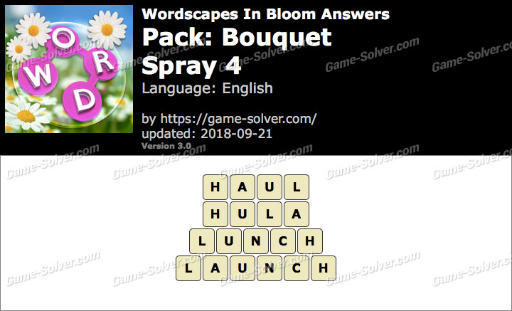 Wordscapes In Bloom Bouquet-Spray 4 Answers