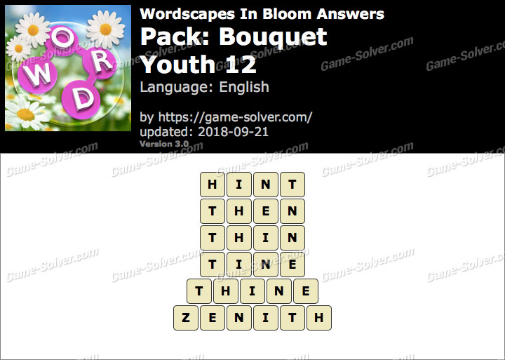 Wordscapes In Bloom Bouquet-Youth 12 Answers
